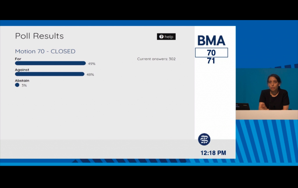 BMA goes neutral after knife-edge vote